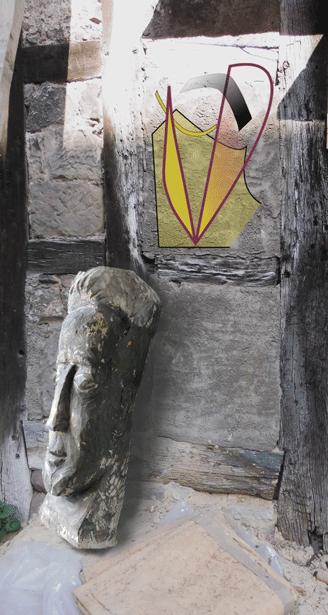 Kopf-Skulptur hingeworfen in Tristheit und Zerfall