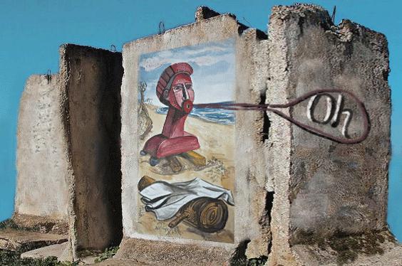 Graffiti roter Kopf Erstaunen Zerfall