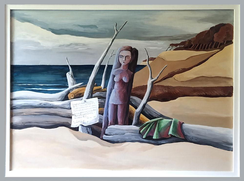 Meer-Wellen-Strand-eine archaisch Holzskulptur-auf einem Papierfetzen ein Gedichtfragment von Heine